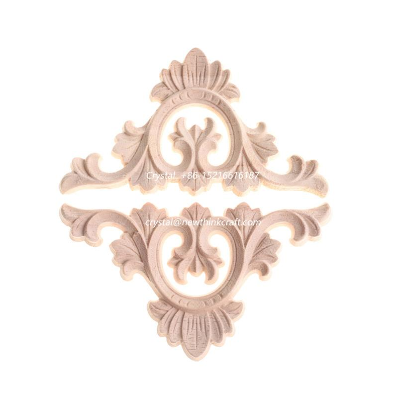 carved wooden onlay solid wood carving ornaments wood applique for furniture 1