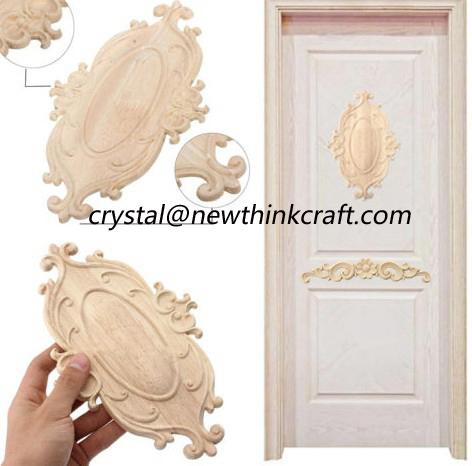 carved wooden onlay solid wood carving ornaments wood applique for door 2