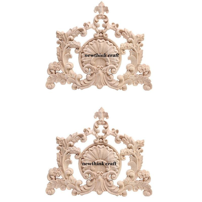 carved wooden onlay for furniture decoration ornaments wood applique for door 2