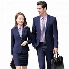 正裝女套裝秋冬裝2019新款男女同款職業裝企業工作服灰色西裝定製