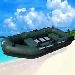 輕便硬底充氣橡皮船漂流船送充氣泵划槳