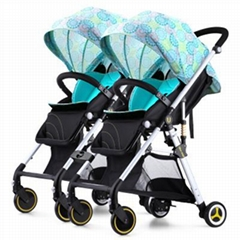 Double Seat Baby Stroller for Twins / Aluminum Portable Kids Babystroller