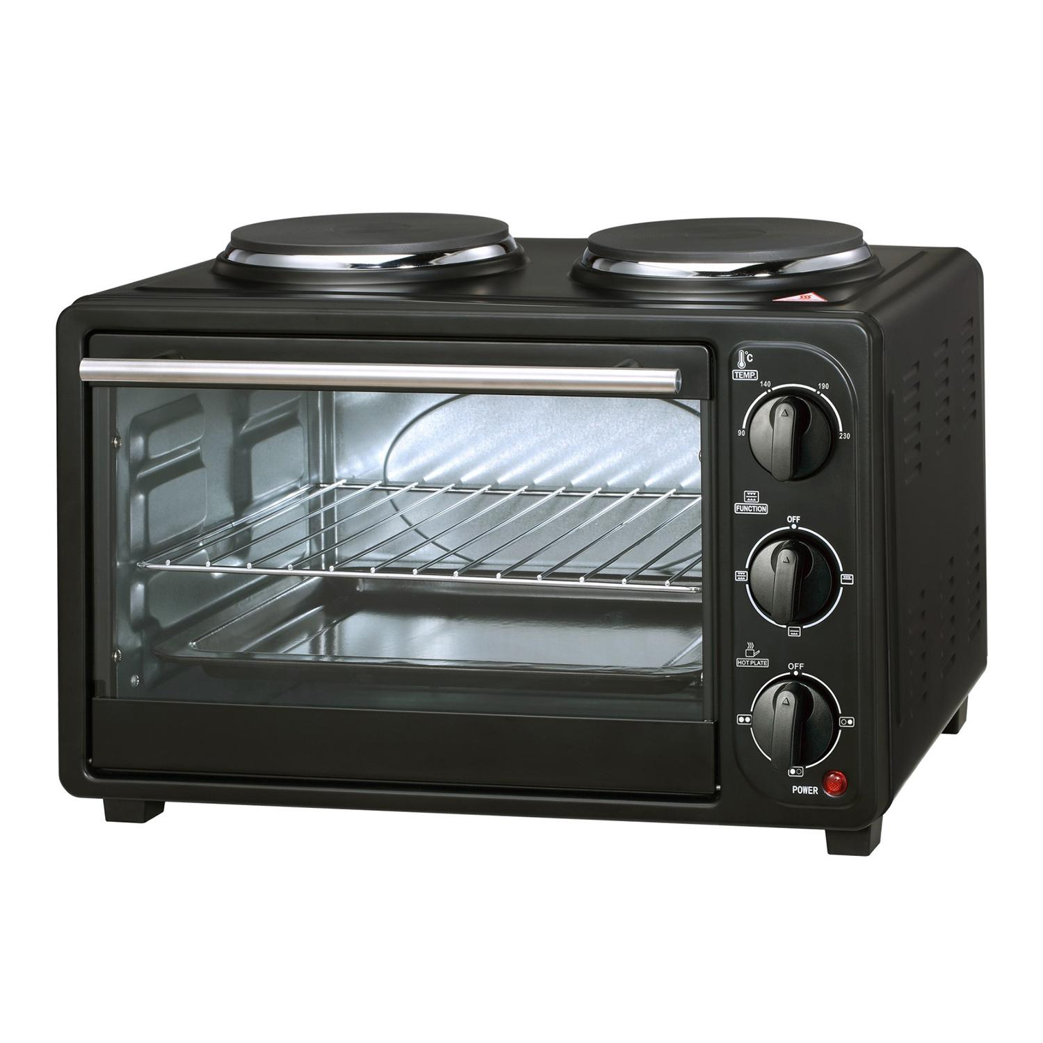 23L mini oven electric bread baking oven with two hot plates  1