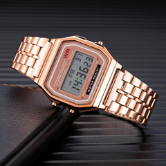 Women Men Unisex Watch Gold Silver Vintage Stainless Steel LED Sports Military W