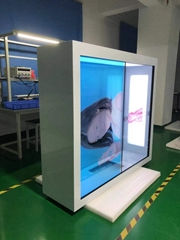 東莞市惠華電子廠家直銷55寸1*2透明液晶拼接展示櫃