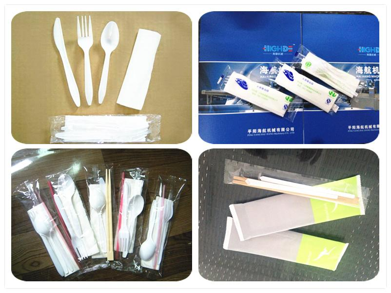 Restaurants Tableware Packing Wet Wipe Spoon Fork Knife Packing Wrapping Machine 3