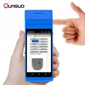 Mini Handheld rfid nfc reader barcode scanner android PDA with thermal printer 3