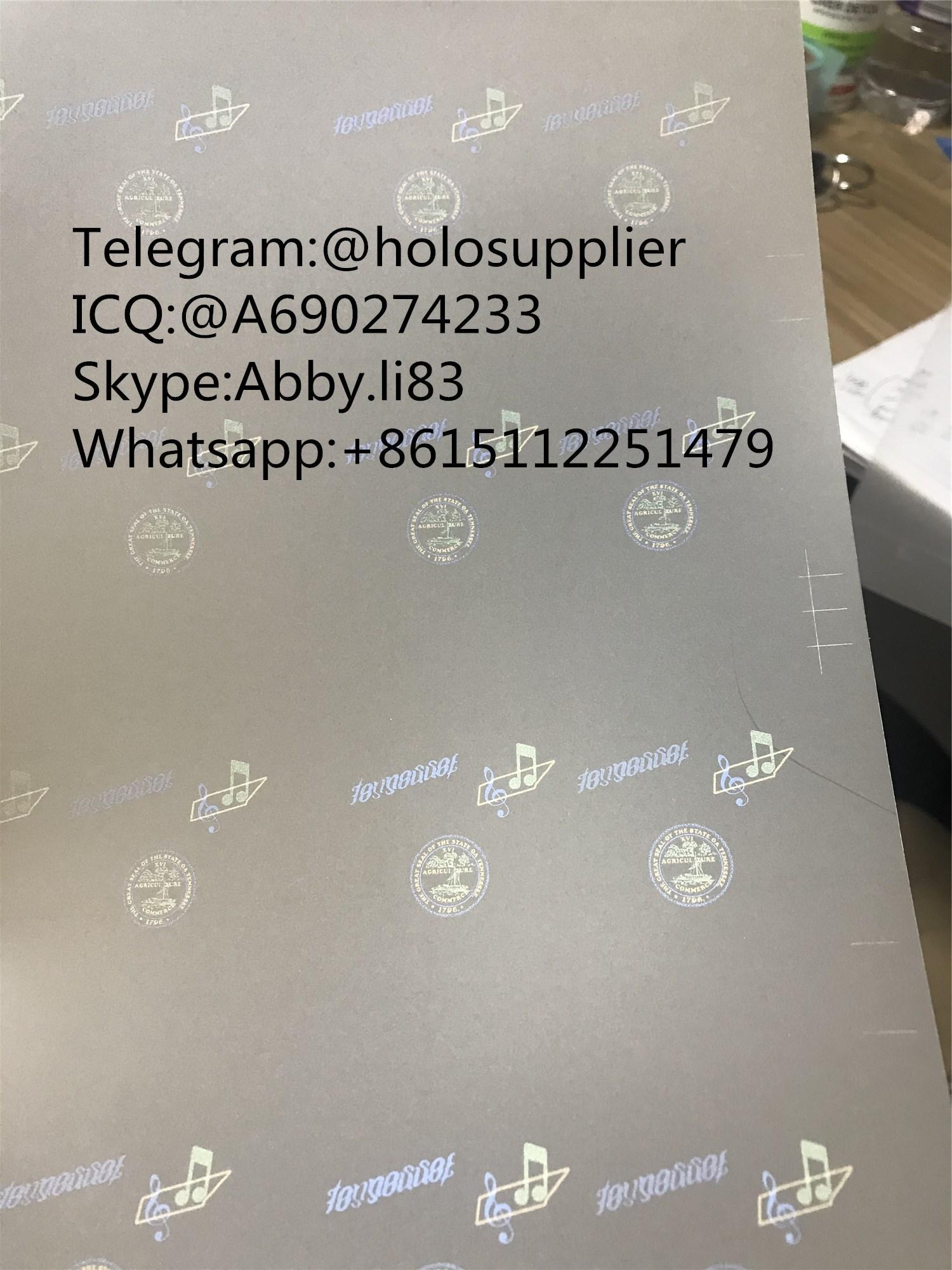 Tennessee TN ID laminate sheet hologram 1