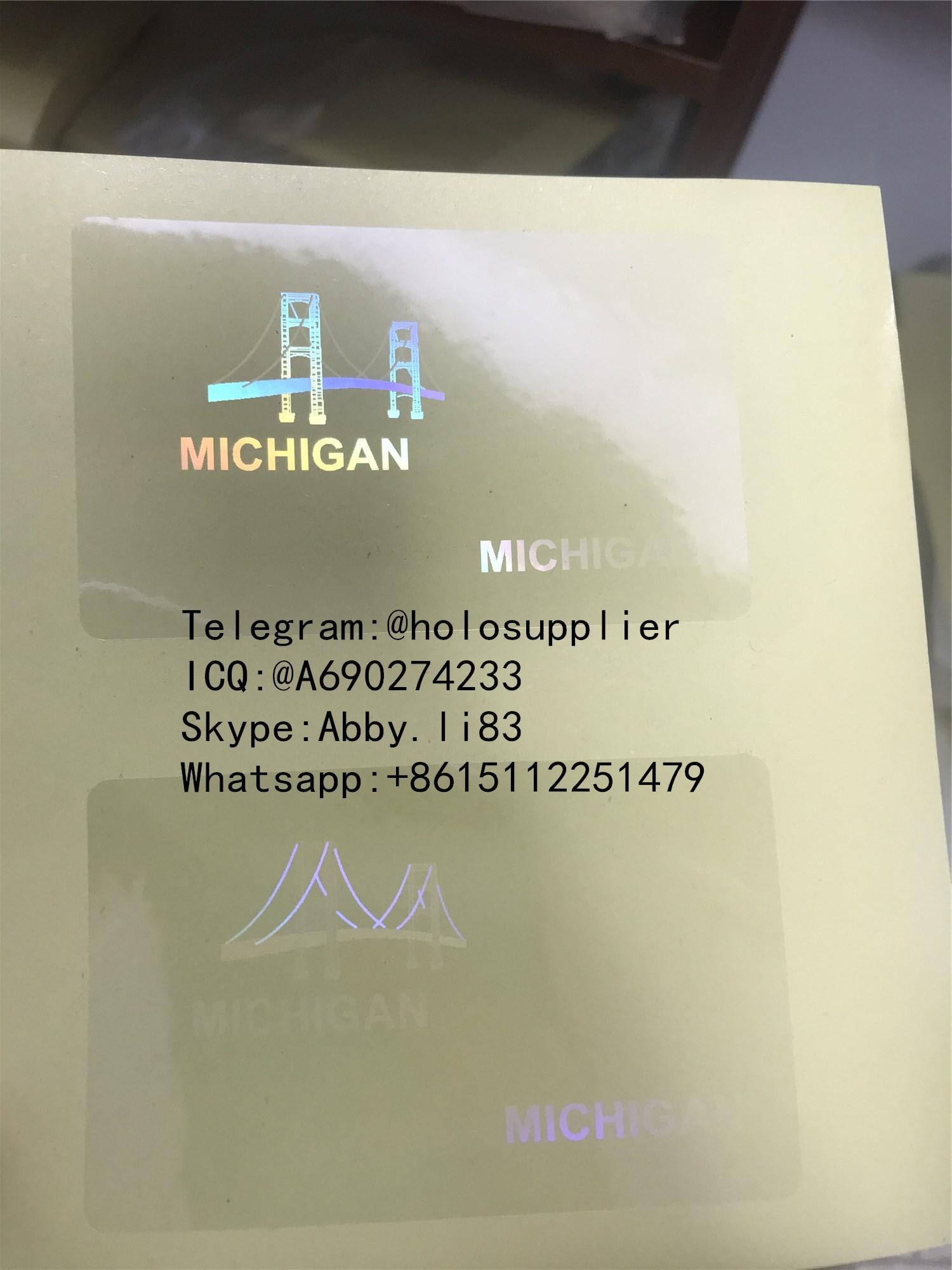New Michigan MI state ID overlay hologram 1