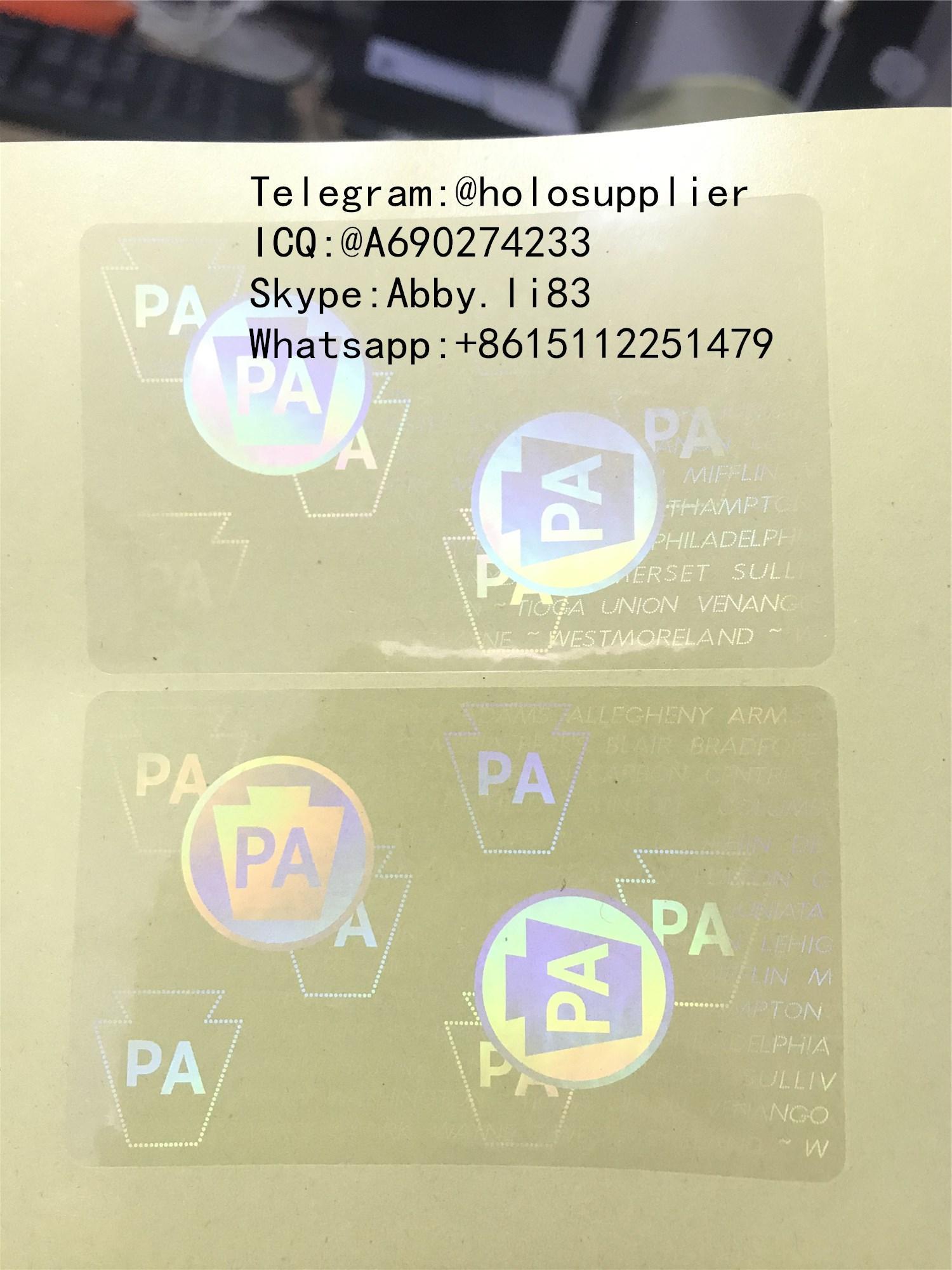 Pennsylvania PA UV state ID hologram sticker US state ID overlays 1