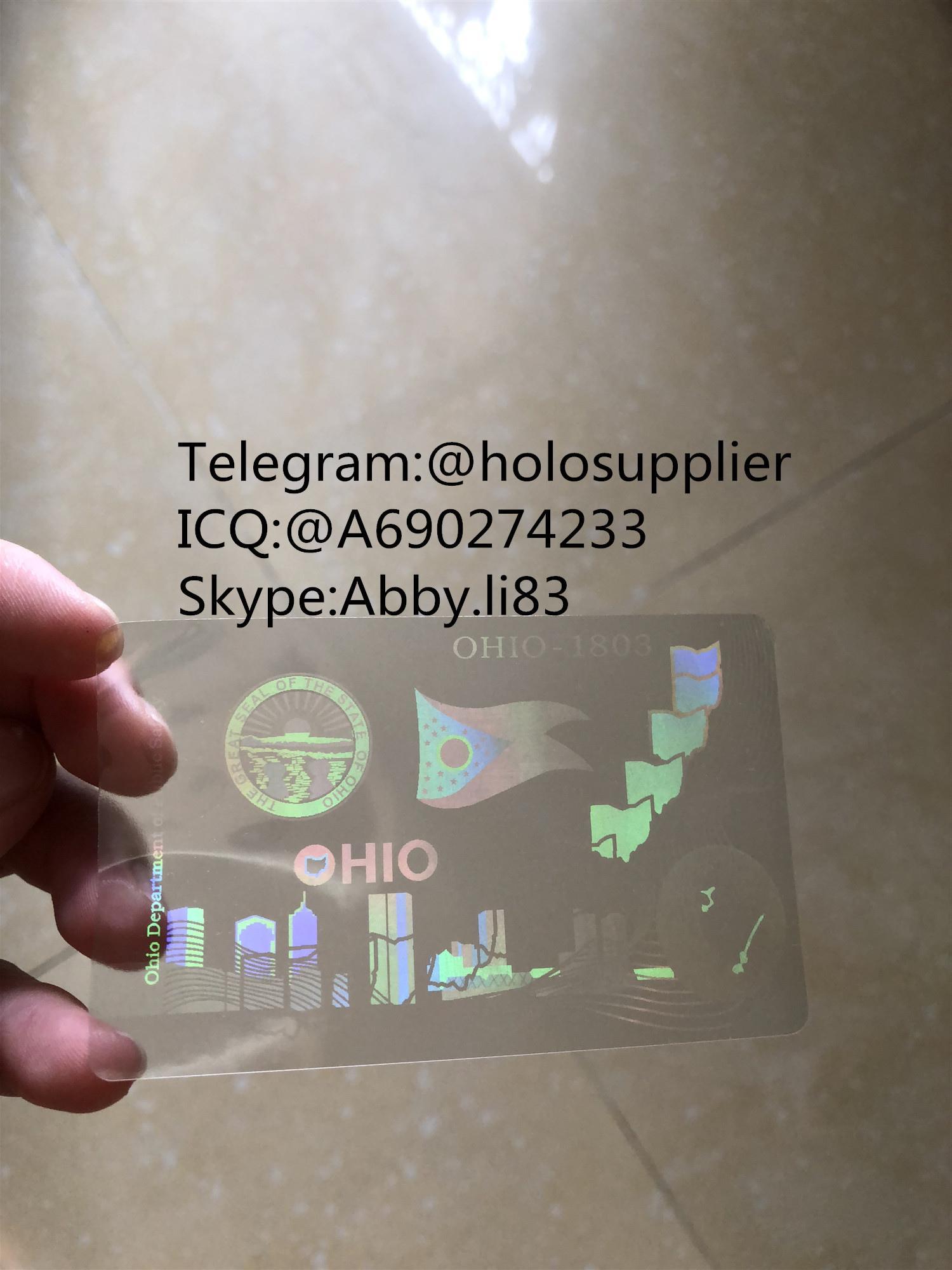 Ohio  ID DL hologram overlay sticker Ohio ID template
