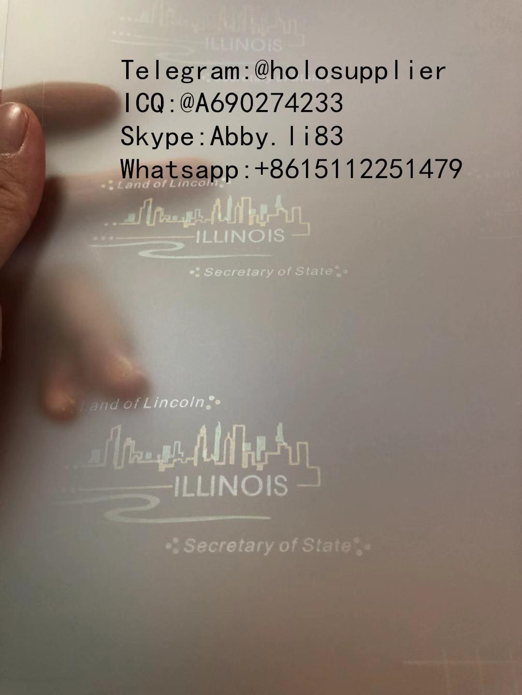 New IL hologram overlay UV IL OVI Laminate sheet for Illinois ID template 1