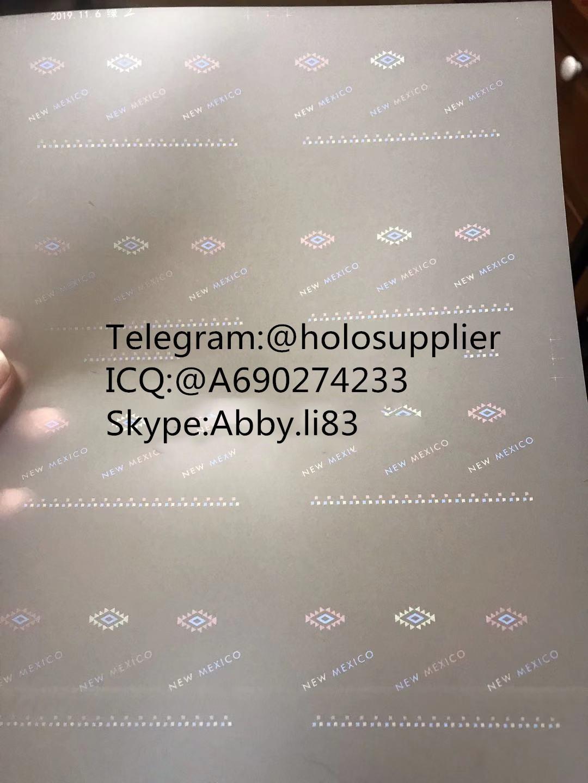 New Mexico NM ID overlay laminate sheet hologram 1