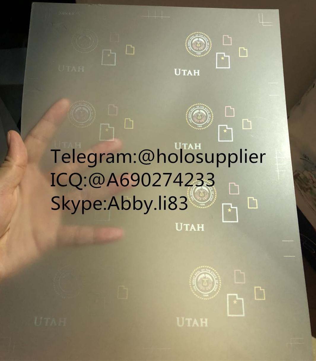Utah ID laminate sheet overlay state ovi sheet  1