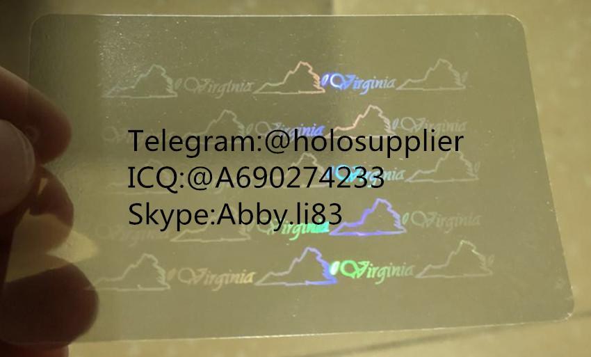 Virginia  ID  hologram overlay sticker Virginia VA ID template 1