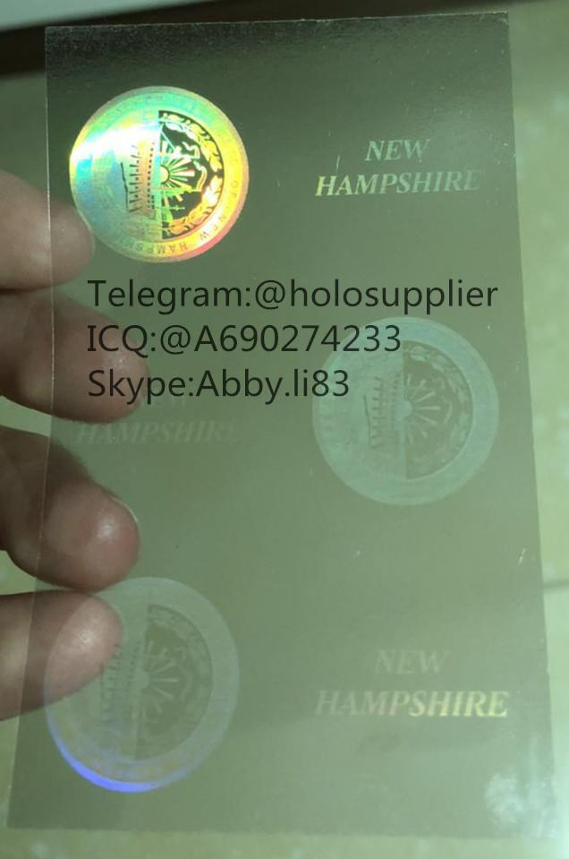 New Hampshire  ID DL hologram overlay sticker NH ID template