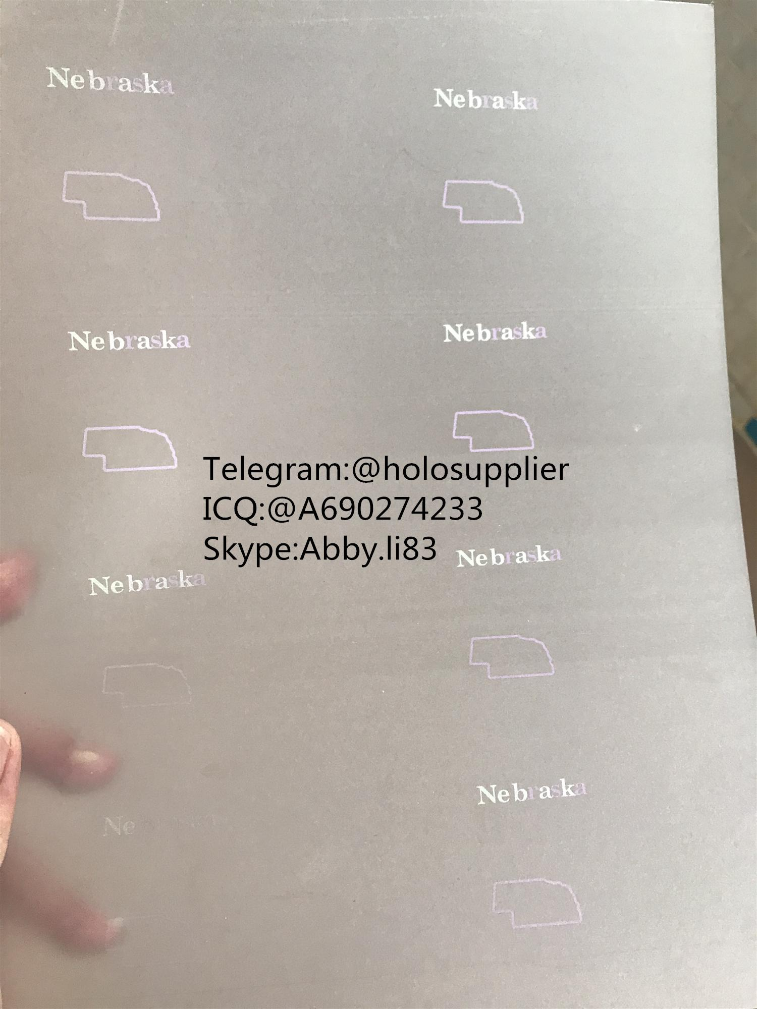 Nebraska  laminate sheet NE ovi sheet hologram
