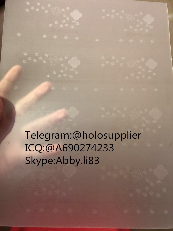 New Maryland laminate sheet MD ovi sheet hologram 1