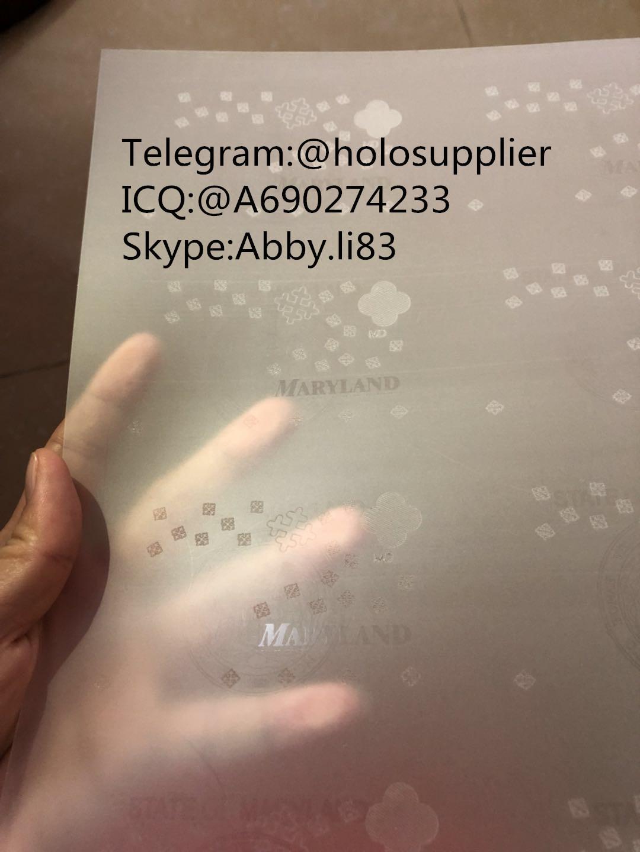 New Maryland laminate sheet MD ovi sheet hologram 2