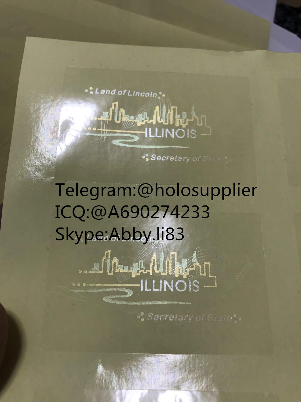 New Illinois state ID hologram sticker IL UV