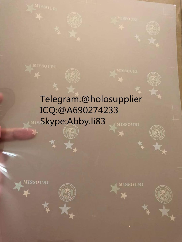 Missouri hologram overlay UV laminate sheet for  Missouri 3
