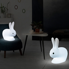 New Design Outdoor Rechargeable Colorful Plastic LED Rabbit Light with Remo