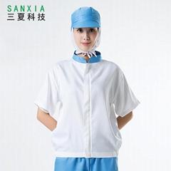 食品厂短袖工作服拼色分体防尘套装吸汗透气易清洗可印字