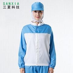 食品廠工作服工廠車間工服套裝鑲色長袖吸汗透氣男女通用款