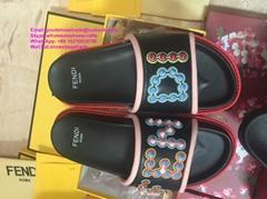Fendi slides fendi slipper Fendi Women Brown Velvet Logo Shearling Slide Sandals (Hot Product - 1*)