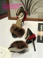 Fendi fur sandals Fendi fur slides fendi Black leather slingbacks fendi shoes FF