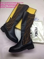 Fendi leather thigh-high boots Fendi over knee boots Fendi ankle boots FF shoes