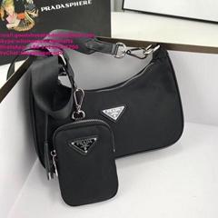 PRADA Re-edition 2005 Shoulder Bag Nylon Black prada Hobo bag wallet a set purse
