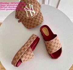 beige brick red GG canvas Women's Original GG slide sandal       platform sandal