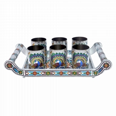 Rajwadi Wooden Tray With S.S.Glass Sets.
