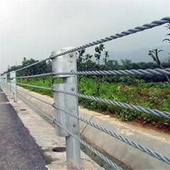 乡村公路缆索护栏学校景区路侧钢绳护栏
