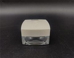 custom design cosmetic Square type jar screw neck glass bottle 15G wholesale