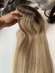 Fashion Blonde Color European Virgin Hair Piece Whoper Jewish Topper