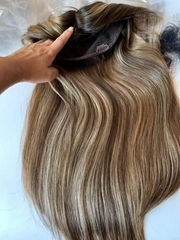 Highlight Color Dark Rooted European Virgin Hair Topper Hair Piece For Women