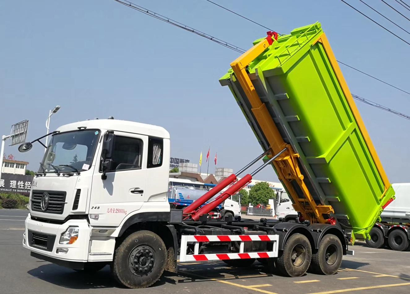 Dongfeng 13 tons Hook Arm Lift Roll Off Garbage Truck price for sale 1