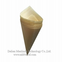 Wooden cone disposable tableware