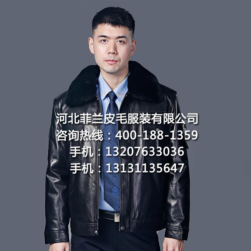 保安皮衣正品冬執勤皮夾克頭層真皮戶外巡邏護衛工作制服廠家批發 3