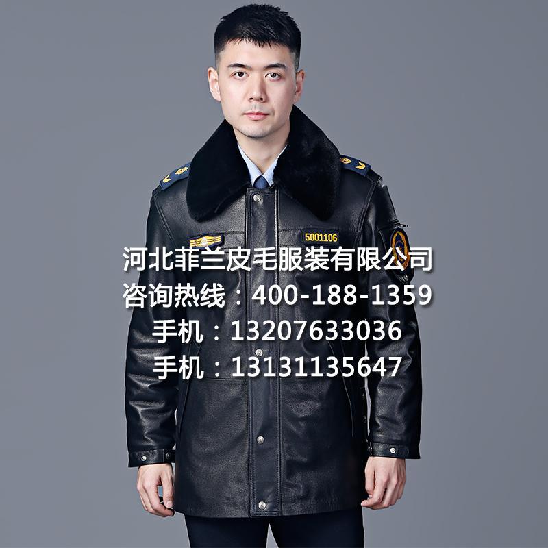多功能冬執勤皮大衣皮夾克頭層真皮戶外巡邏護衛工作制服廠家批發 1