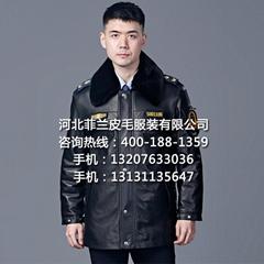 多功能冬执勤皮大衣皮夹克头层真皮户外巡逻护卫工作制服厂家批发