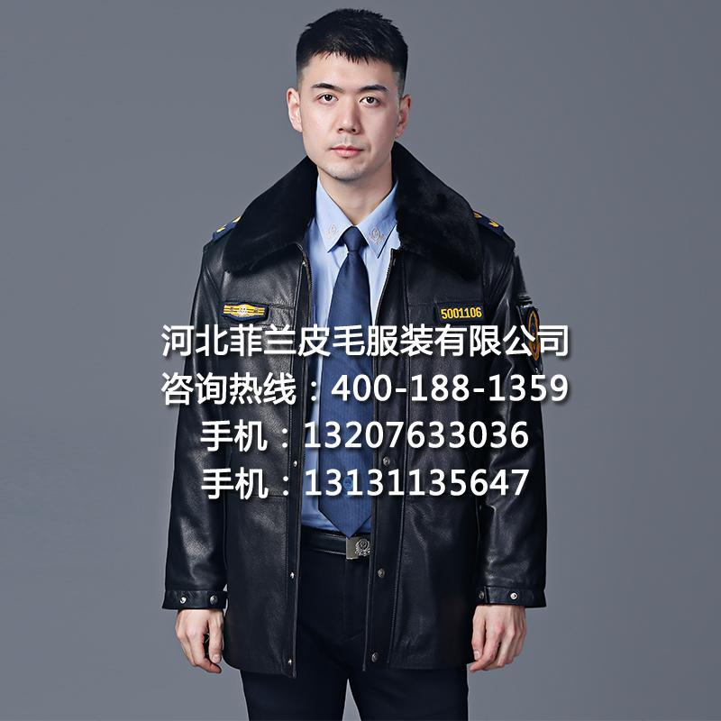 多功能冬執勤皮大衣皮夾克頭層真皮戶外巡邏護衛工作制服廠家批發 2