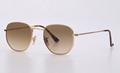 OEM brand sunglasses 3548N 001/51 Hexagonal 51mm Gold Frame gradient brown lens
