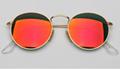 OEM brand sunglasses 3447 112/69 round metal orange flash lens 50mm golden fram