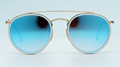OEM brand sunglasses 3647N 001/4O double bridge Gold/gradient blue flash mirror