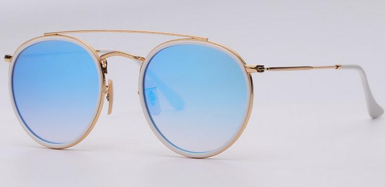 OEM brand sunglasses 3647N 001/4O double bridge Gold/gradient blue flash mirror