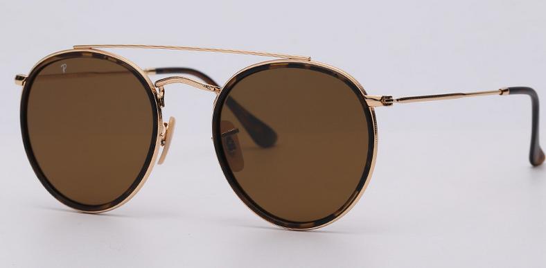 OEM brand sunglasses 3647N 001/57 double bridge sunglasses golden/brown polarize