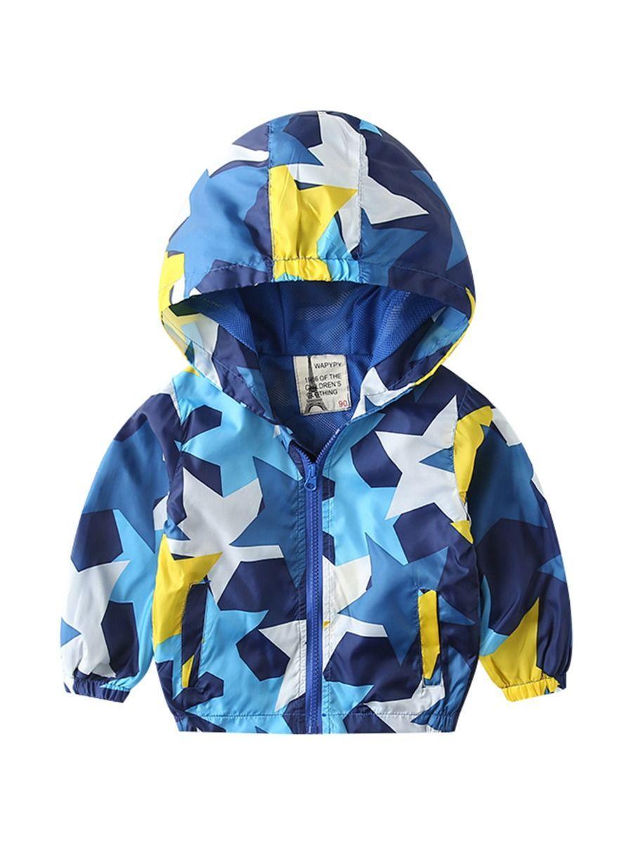 Autumn Allover Print Toddler Little Boy Hooded Jacket 1